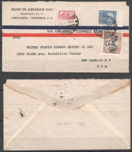 A0551 1945 COLOMBIA TO USA ARCHITECTURE OVERPRINT AIR MAIL !!! VERY RARE FDC