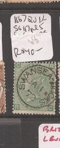 Great Britain 1867 SG 117 QV 1/- plate 5 SON VFU (8cfl)