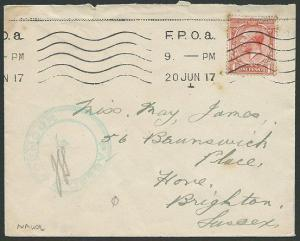 GB WWI 1917 cover FPOa naval censor cover - FPO Afloat.....................40627