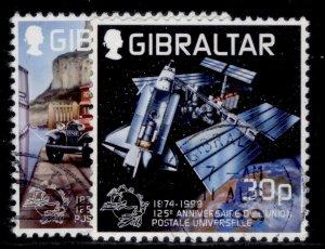 GIBRALTAR QEII SG881-882, 1999 anniv of UPU set, FINE USED.