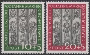 Germany 1951 10pf-20pf Marienkirche Sc B316-B317 Mi 139-140
