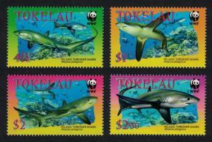 Tokelau WWF Pelagic Thresher 4v SG#336-339 MI#322-325 SC#308-311