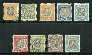 ICELAND SCOTT# O31-39 FINELY USED & MINT LH AS SHOWN CATALOGUE VALUE $147.25