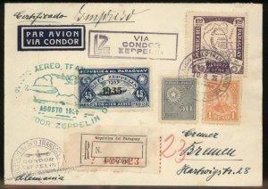 Paraguay 1935 Graf Zeppelin SAF Si0316 Germany Cover 98881