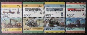 Nukufetau-Tuvalu 198? locomotives trains railways transport 8v MNH