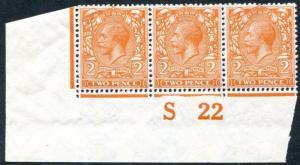 1912-24 2d Orange Die II S22  Control Strip of 3 UNMOUNTED MINT V82143