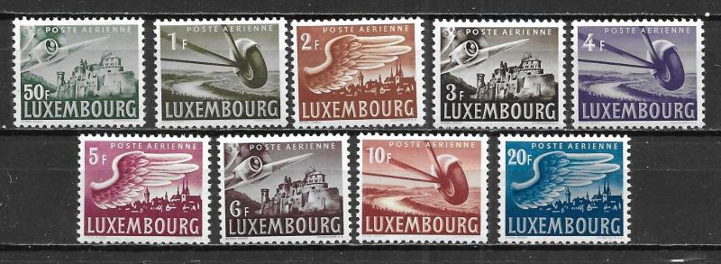 Luxembourg C7-15 Airmails set MNH