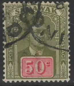 SARAWAK SG89 1928 50c OLIVE-GREEN & CARMINE FINE USED
