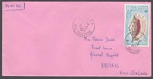 NEW CALEDONIA 1971 cover NOUMEA to New Zealand - 22f shell.................53876