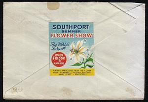 GB 1953 cover SOUTHPORT FLOWER SHOW cinderella reverse.....................44471