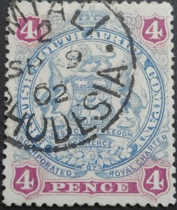 Rhodesia 1897 4d with UMTALI Code 2 Month Day (SC) postmark