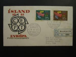 Iceland SC# 340 / 341 1961 Europa FDC / Cacheted / Light Toning - Z4648