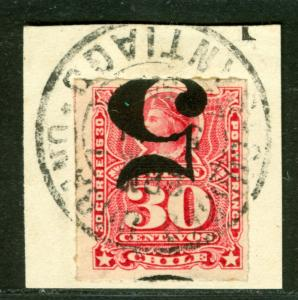 CHILE 1900 Columbus  5c /30c carmine INVERTED SURCHARGE Sc# 50c  USED on piece