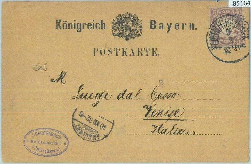 85164 - GERMANY Bayern - Postal History - FORMULAR STATIONERY CARD to ITALY 1882