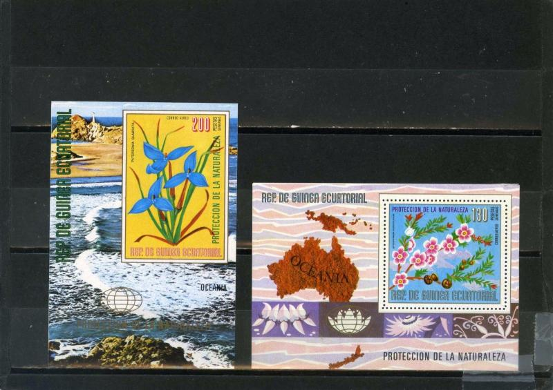 EQUATORIAL GUINEA FLOWERS OF OCEANIA 2 S/S PERF. & IMPERF.MNH