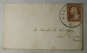US Sc# 10A Used On Cover 1850's Waterby CT City Postmark Cancel