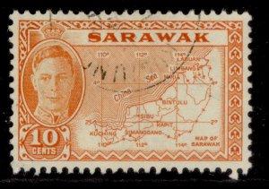 SARAWAK GVI SG177, 10c orange, FINE USED.