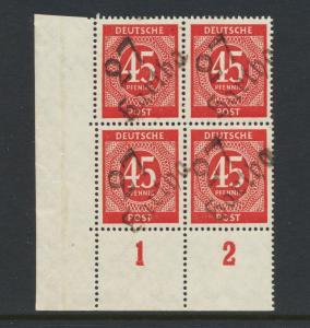 GERMANY - SOVIET ZONE  HARTHA BEZIRK 27  1948, 45pf BLOCK VF NH
