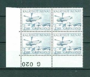 Greenland. 1 Mnh 4-Plate Blocks  1977 #  G 020. 200 Ore  Helicopter.  Cz. Slania