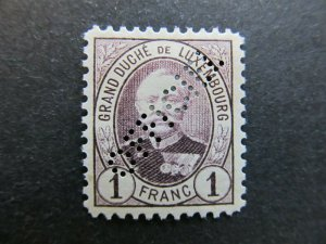 A4P27F132 Letzebuerg Luxembourg Official Stamp 1891-93 1fr mh* Perfin