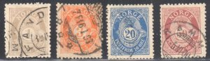 Norway #47a, #49a, #53a, #57a   ALL USED