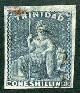 Trinidad 1859 (May) SG29 1/- indigo Four Margins (thinned) Cat 350 pounds