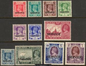 1939 Burma Service Definitives, 3p - 2R, set of 11, SG O15-25, MH