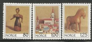 NORWAY, 738-740, MNH, WOODEN