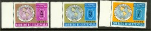 GUATEMALA  1967 Geographical & Historical Airmail Set Scott Nos. C356-C358 MNH