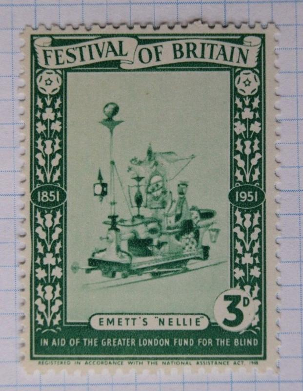 Festival Britain 1951 expo Emett's Nellie 3d Blind aid charity London Poster ad