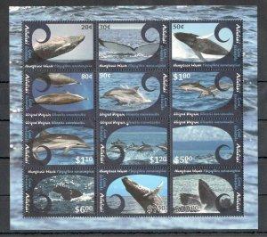 EC221 2012 AITUTAKI COOK ISLANDS WHALES & DOLPHINS !!! MICHEL 60 EURO 1SH MNH