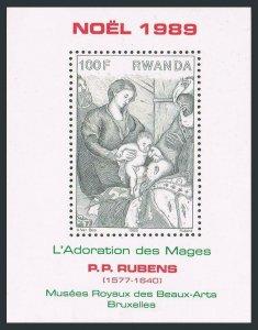 Rwanda 1333,MNH.Michel 1416,Bl.107. Christmas 1989.Adoration of Magi,by Rubens.