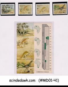 ANGOLA - 1994 Int'l Stamp Ex. Philakorea DINOSAURS SET OF 4-STAMPS & 1-M...