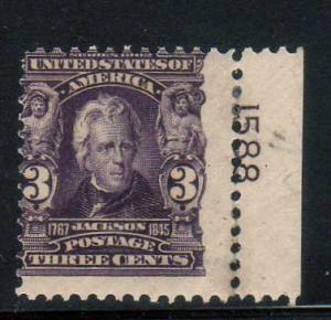 US Scott 302 with Plate Number Mint Never Hinged!