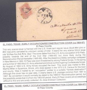 El Paso County El Paso Circa 1865 ( Postal History ), 1865