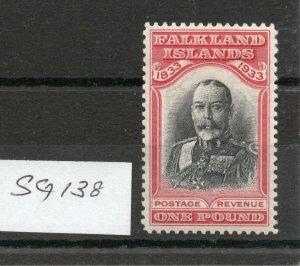 FALKLAND ISLANDS Centenary 1933 £1 SG138 lightly hinged fresh colours.