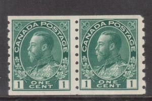Canada #125 Never Hinged Mint Coil Pair