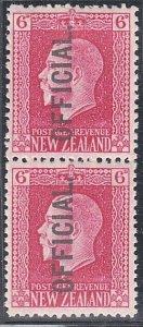NEW ZEALAND GV 6d Official 2 perf pair fine mint............................J107