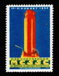 REKLAMEMARKE POSTER STAMP REICHENBERGER MESSE 1925 TSCHECHOSLOWAKEI MNH-OG
