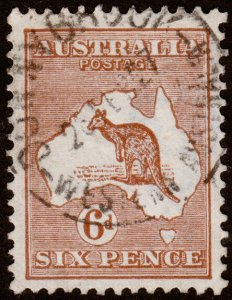 Australia Scott 49, Die IV, Yellow Brown (1923) Used F-VF M