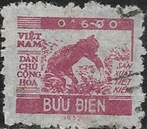 North Vietnam  1953 Harvesting Rice SC# O1 Used