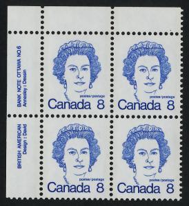 Canada 593b TL Block Plate 6 MNH Queen Elizabeth