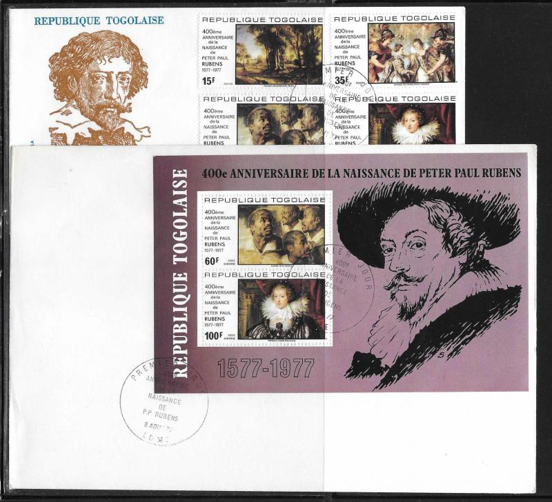 Togo 963-64, C324-25, C325a Rubens Paintings Unaddressed FDC