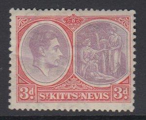 ST. KITTS-NEVIS, Scott 84a, MHR (crease)