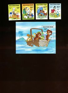 TURKS & CAICOS ISLANDS - Sc 476-480 VFMNH. DISNEY - EASTER - 1981