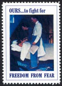 Patriotic WW2 Poster Stamp - Freedom From Fear - Cinderella