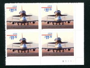 3262 Space Shuttle  Piggyback $11.75 Plate Block of 4  MNH  VF
