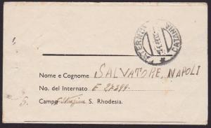 RHODESIA 1944 Italian POW lettersheet  ex NO 5 INTERNMENT CAMP to Sicily..5252