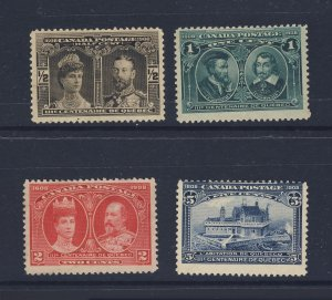 4x Canada 1908 Quebec Mint Stamps; #96-1/2c to #99-5c Guide Value = $85.00