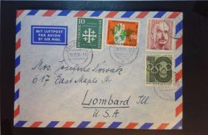 Germany 1956 Airmail Cover w/ Some Better (I) - Z1292
